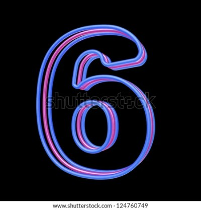 3d neon number 6 isolated on black background - stock photo