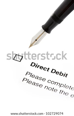 Signing Direct Debit Agreement Form Isolated Stock Photo (100 Legal - direct debit form
