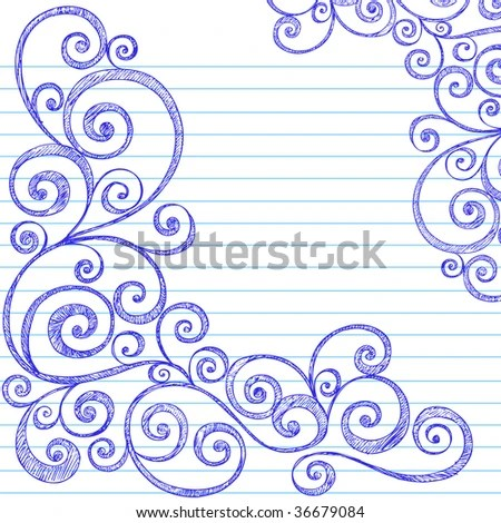 Handdrawn Sketchy Doodles Swirly Border On Stock Vector 36679084 - lined border paper