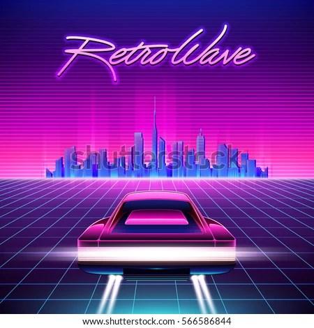 Car 1440p Phone Wallpaper 80 S Retro Sci Fi Background Vector Retroのベクター画像素材