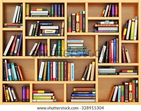 Education Concept Books Textbooks On Bookshelf Stock