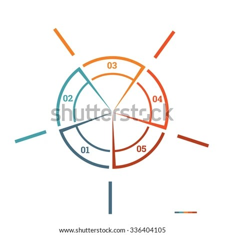 Infographic Pie Chart Template Colourful Circle Stock Illustration - number chart template