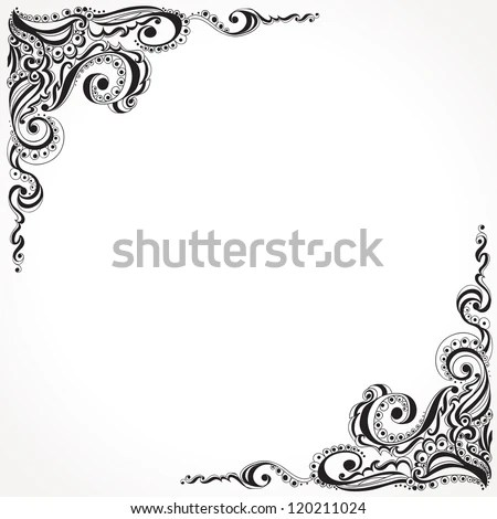 Abstract Floral Tattoo Pattern Template Frame Stock Vector 120211024 - frame for cards