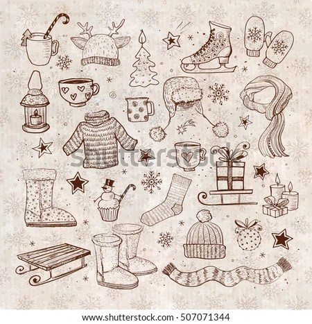 Sketches Winter Elements On Vintage Background Stock Vector - background sketches
