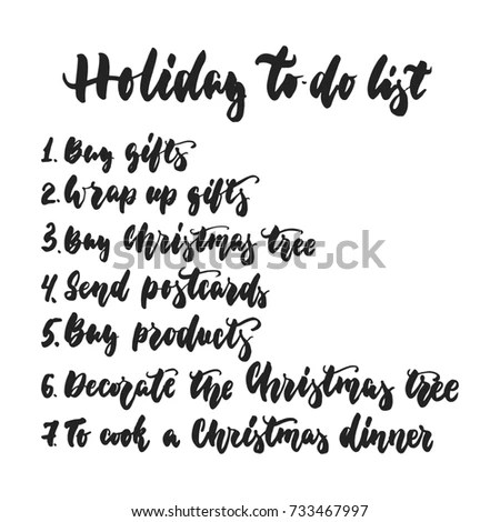 Holiday Todo List Hand Drawn Lettering Stock Vector 733467997