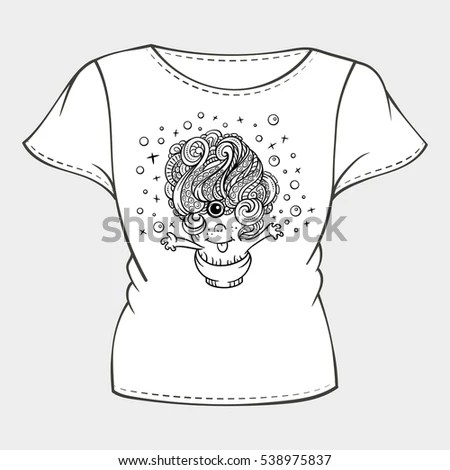 Vector Tshirt Template Funny Monster Print Stock Vector 538975837 - Monster Template