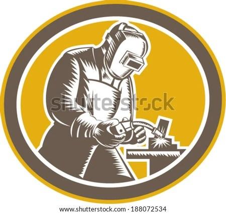 Illustration Welder Fabricator Worker Working Using Stock Vector - welder fabricator