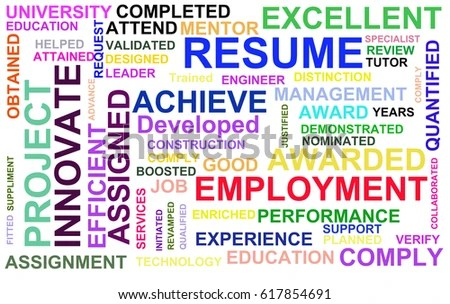 Resume Powerful Words Illustration High Resolution Stock - powerful resume words