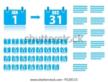 365 Day Calendar Icons Full Year Stock Vector 9528115 - Shutterstock