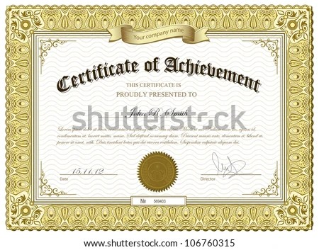 certificate template with golden borders certificate of excellence