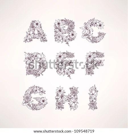 Floral alphabet letters design free vector download (10,565 Free