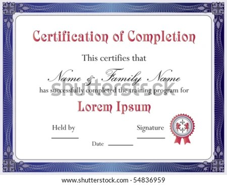 Certificate Completion Template Vector Format Stock Photo (Photo