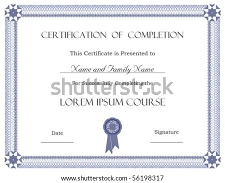 Vector Certificate Completion Template Stock Vector 56198317