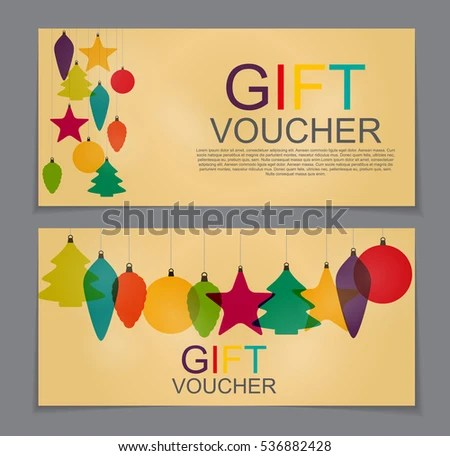 Gift Voucher Template Christmas New Year Stock Photo (Photo, Vector - Free Christmas Voucher Template