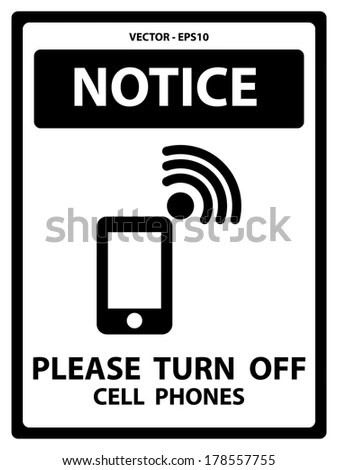 Vector Black White Notice Plate Safety Stock Vector (2018) 178557755 - Turn Off Cell Phone Sign