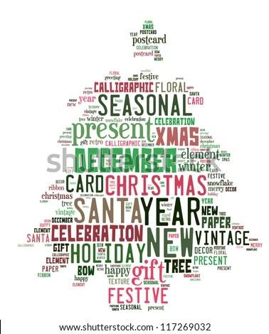New Year Words Cloud Christmas Tree Stock Illustration 117269032 - christmas tree words
