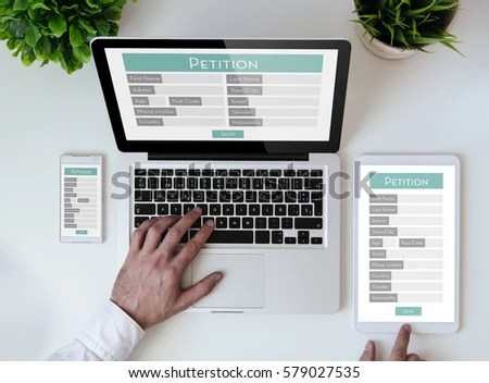 Office Tabletop Tablet Smartphone Laptop Showing Stock Photo