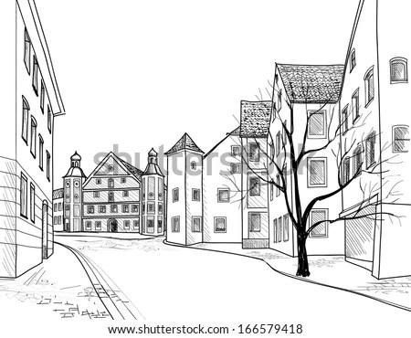 Greek Village Scene 3d Wallpaper White Perspective Houses Sketch Pedestrian Street Old Stock