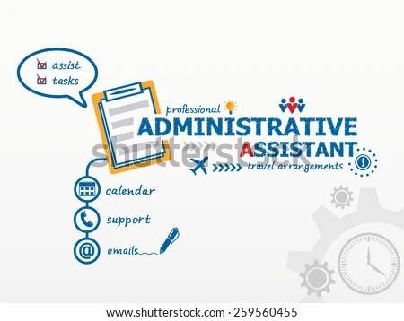 Administrative Assistant Business Concept Notebook Hand Stock Vector - administrative assistant