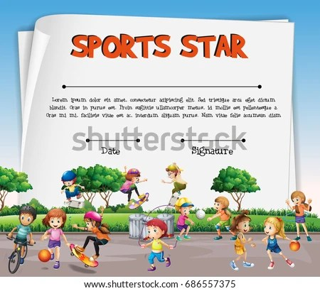 Sports Star Certificate Template Kids Playing Stock Vector (2018 - certificate template for kids