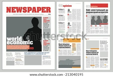 Graphical Design Newspaper Template Stock Vector 213040195 - online newspaper template