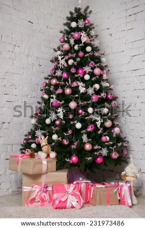 Pink Christmas Tree Stock Images, Royalty-Free Images \ Vectors - beautiful decorated christmas trees