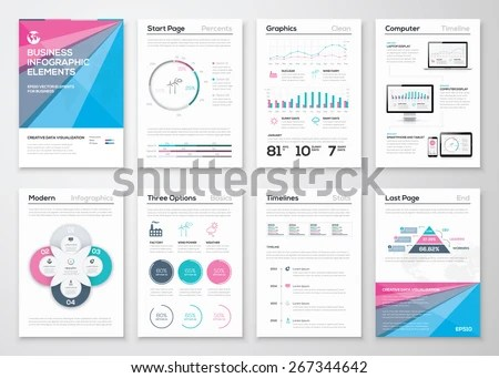 Infographic Business Brochure Templates Data Visualization Stock - line graphs template