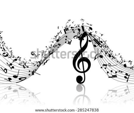 Musical Design Elements Music Staff Treble Stock Vector 285247838