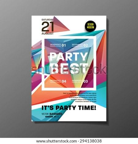 Party Flyer Template Vector Design Abstract Stock Vector (Royalty