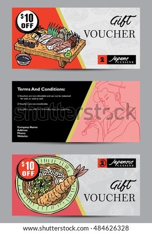 Gift Voucher Template Hand Drawn Japanese Stock Photo (Photo, Vector
