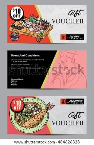 Gift Voucher Template Hand Drawn Japanese Stock Photo (Photo, Vector - food voucher template