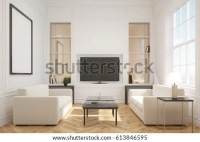 Front View Living Room Interior Tv Stock Illustration ...