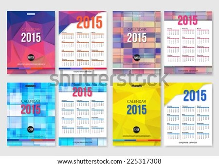 Set 2015 Calendar Template Brochure Geometric Stock Vector (Royalty