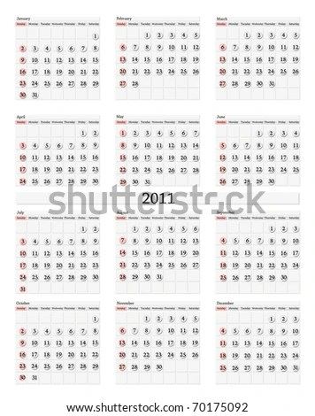 Vertical 2011 Calendar Template Stock Illustration 70175092
