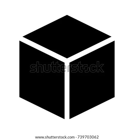 Three Dimensional 3 D Cube Hexahedron Flat Stock Vector 739703062