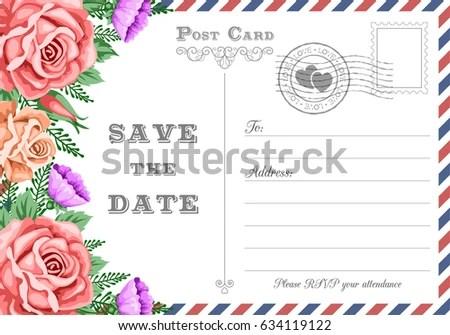 Vintage Postcard Wedding Invitation Template Flowers Stock Vector HD