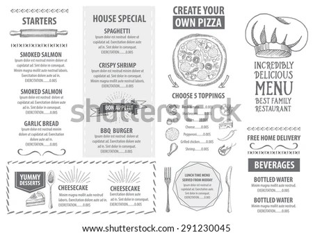 Restaurant Cafe Menu Template Design Food Stock Vector 291230045 - Cafe Menu Template