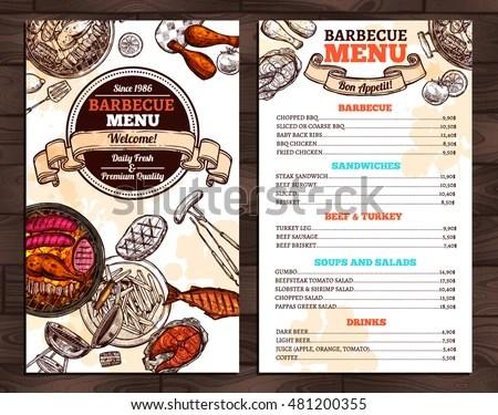 Barbecue Restaurant Menu Template Design Stock Vector (Royalty Free - menu