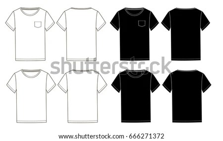 Black White Basic Unisex Tshirts Template Stock Vector (Royalty Free - pocket template