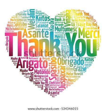 Thank You Love Heart Word Cloud Stock Illustration 534346015