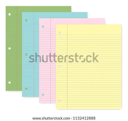 Hole Punched Colored Filler Paper 3 Stock Vector (Royalty Free - colored writing paper