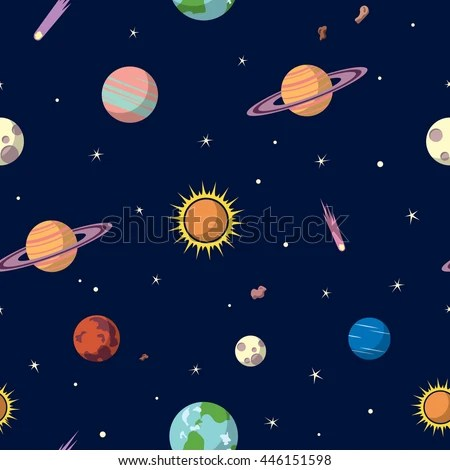 Planets Seamless Pattern Space Background Space Stock
