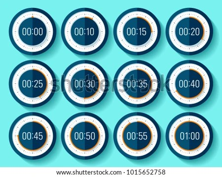 Stopwatch Icons Set Flat Style Timer Stock Vector (2018) 1015652758 - set timer to 1 minute