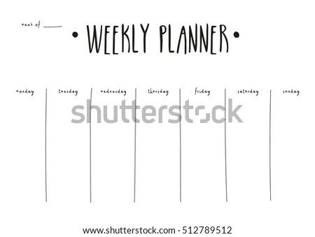Minimal Weekly Planner Vector Template Printable Stock Vector