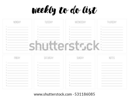 Weekly Do List Vector Template Blank Stock Vector 531186085 - weekly to do list template