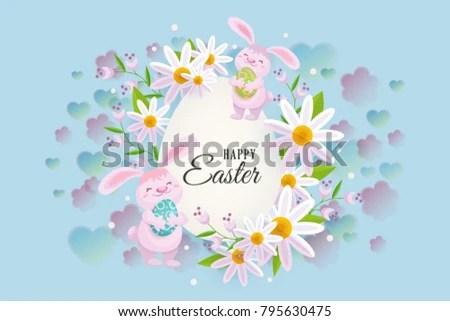 Horizontal Easter Sale Banner Postcard Card Stock Vector 795630475
