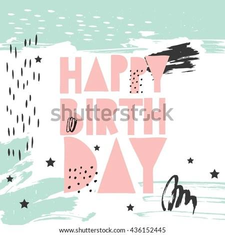 Hand Drawn Vector Birthday Card Lettering Stock Vector 436152445 - birthday card layout