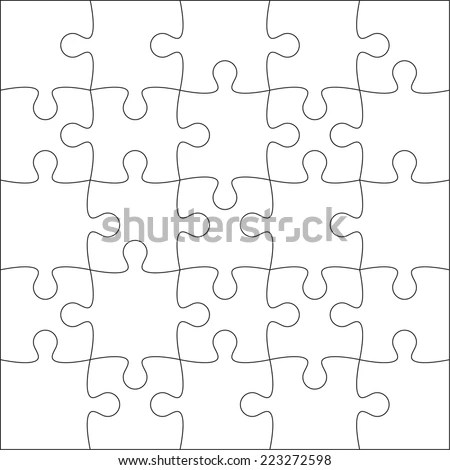 Jigsaw Puzzle Blank Template Cutting Guidelines Stock Vector (2018