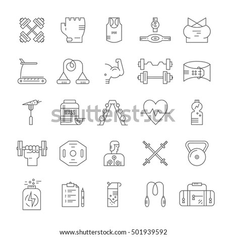 Collection Vector Line Style Icons Weightloss Stock Vector 501939592 - gym workout for weight loss