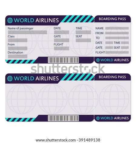 Airline Plane Ticket Boarding Pass Blank Stock Vector 391489138 - blank ticket template